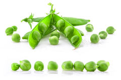 Collection Fresh green pea pod and peas Stock Photo