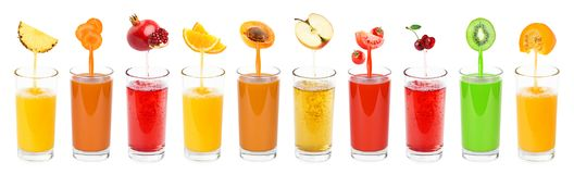 Collection of fresh juices. Fruits and vegetables. Collection of fresh juices Stock Images