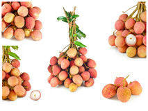 Collection of fresh lychees isolated on white Stock Photos