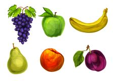 Collection of fresh organic fruits Stock Photography