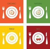 Collection of fresh and organic fruits on plates Royalty Free Stock Image