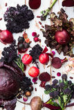 Collection of Fresh Purple Fruits and Vegetables. Such as Plums, Beetroots, Onions, Aubergine, Lettuce, Cabbage, Beans, Figs, Grapes on the White Background Stock Photography