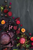 Collection of Fresh Purple Fruits and Vegetables Royalty Free Stock Photography