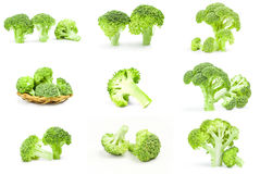 Collection of fresh raw broccoli close-up isolated on white background Stock Photo