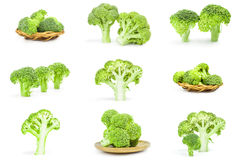 Collection of fresh raw broccoli  on a white background cutout. Collage of broccoli cabbage on a  white background Royalty Free Stock Image