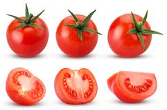 Collection fresh red tomato with green leaves, whole, cut in hal stock image