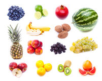 Collection of fresh tropical fruits. On white background royalty free stock image