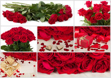 Collection of fresh valentine red roses and heart Royalty Free Stock Photo