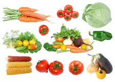 Collection of fresh vegetables isolated on white Stock Photos