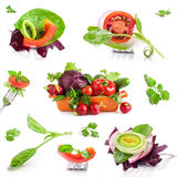 Collection of Fresh vegetables. Isolated on white background royalty free stock image