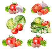 Collection of fresh vegetables on white background. With clipping path Royalty Free Stock Photography