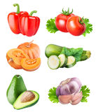 Collection of fresh vegetables on white background. With clipping path Royalty Free Stock Photo