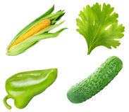 Collection of fresh vegetables on white background. With clipping path Royalty Free Stock Image