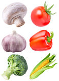 Collection of fresh vegetables on white background. With clipping path Royalty Free Stock Images