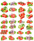 Collection of fresh vegetables on white background. With clipping path Stock Image