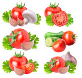 Collection of fresh vegetables on white background. With clipping path Stock Photography