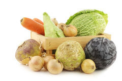 Collection of fresh winter vegetables in a wooden crate Royalty Free Stock Photography
