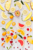 Collection of fresh yellow,orange and red fruits Royalty Free Stock Photography