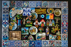 Collection of fridge magnets from many locations in different countries Royalty Free Stock Photos