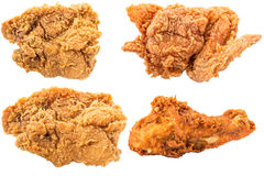Collection of The fried chicken isolated on white background. Royalty Free Stock Images