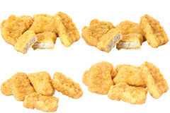 Collection of Fried chicken nuggets isolated on white background. Stock Image