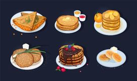 Collection of fried pancakes, blini, crepes, syrniki, oladyi lying on plates with various toppings isolated on dark. Background. Delicious cooked breakfast Stock Photos