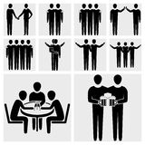 Friend, friendship, relationship, teammate and tea. Collection of friend, friendship, relationship, teammate and teamwork vector icon set isolated on grey Stock Images