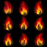 Collection of friezes from the fire. On a black background.This file contains transparency.  Mesh Royalty Free Stock Photos
