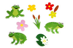 Collection of frog and plant stickers Stock Photography