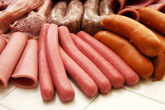 Collection froide de viande d'épicerie Images stock