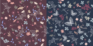 Collection From Two Vector Seamless Patterns In Floral Style For Stock Photo