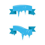 Collection of frozen icicle snow winter vector banner. Stock Images