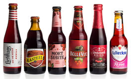 Collection of fruit beers on white Stock Photo