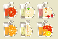 Collection of fruit juices and cocktail. Menu element for cafe or restaurant with energetic fresh drink made in flat style. Fresh juice for healthy life Stock Photo