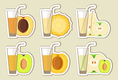Collection of fruit juices and cocktail. Menu element for cafe or restaurant with energetic fresh drink made in flat style. Fresh juice for healthy life Royalty Free Stock Photography