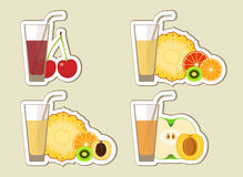 Collection of fruit juices and cocktail. Menu element for cafe or restaurant with energetic fresh drink made in flat style. Fresh juice for healthy life Stock Photos