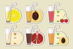 Collection of fruit juices and cocktail Stock Photos