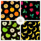 Collection of fruit patterns: orange, strawberry, apple, banana Royalty Free Stock Images