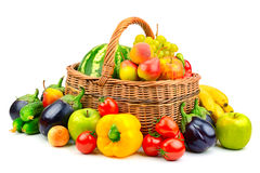 Collection fruit and vegetable in basket. On white background Royalty Free Stock Photography