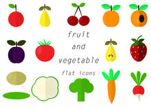 Collection Fruit and vegetable flat icon Stock Photography