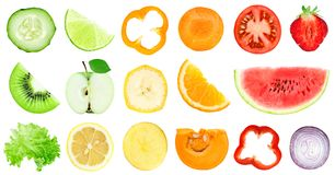 Collection of fruit and vegetable slices royalty free stock photography