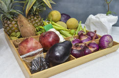 Collection of fruit and vegetables in kitchen Royalty Free Stock Photos
