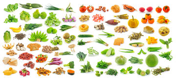Collection of fruit and Vegetables on white background Royalty Free Stock Images
