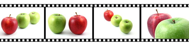 Collection of fruits with film strip. Isolated fruits collection with a film strip Royalty Free Stock Image