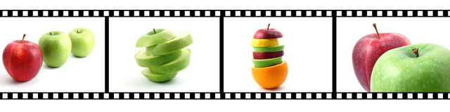 Collection of fruits with film strip. Isolated fruits collection with a film strip Stock Photos