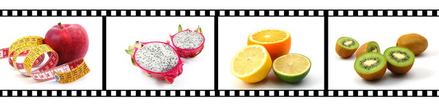 Collection of fruits with film strip Royalty Free Stock Photography
