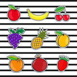 Collection fruits icons in a flat style of pop art Stock Photography