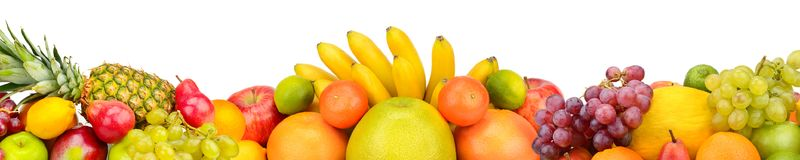 Collection fruits isolated on white background. Panoramic collag Stock Photography