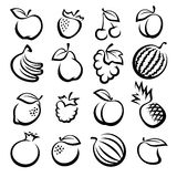 Collection of fruits set. Vector illustration Stock Photos