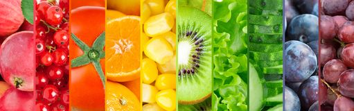 Collection of fruits and vegetables. Background of fresh color food Royalty Free Stock Photos